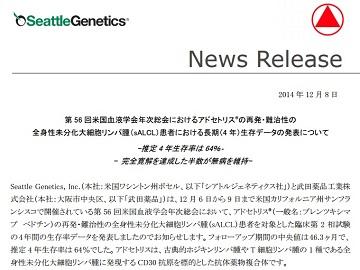 第56回米国血液学会年次総会におけるアドセトリスの再発・難治性の全身性未分化大細胞リンパ腫(sALCL)患者における長期(4年)生存データの発表について