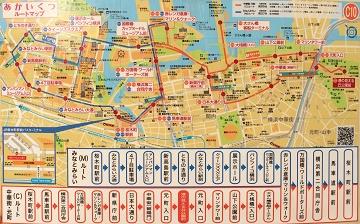 横浜市営バス周遊バスあかいくつ・中華街元町ルート路線図