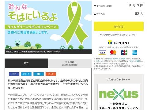 Yahoo!ネット募金「血液がんであるリンパ腫患者支援のために~ライムグリーンリボン」(2018年1月26日現在)