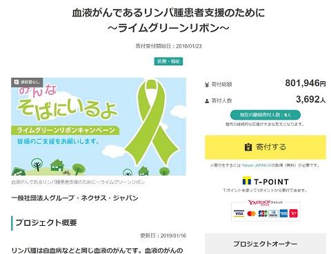 Yahoo!ネット募金「血液がんであるリンパ腫患者支援のために~ライムグリーンリボン」